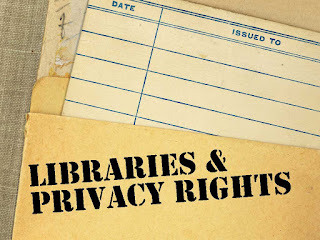 photo of old library book card with text: Libraries and Privacy Rights