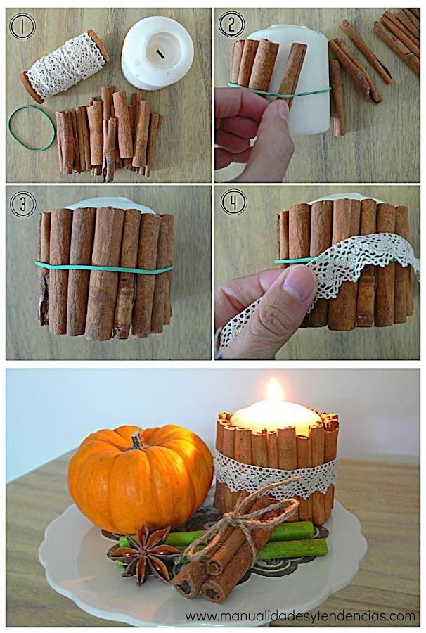 Vela decorada con bastones de canela