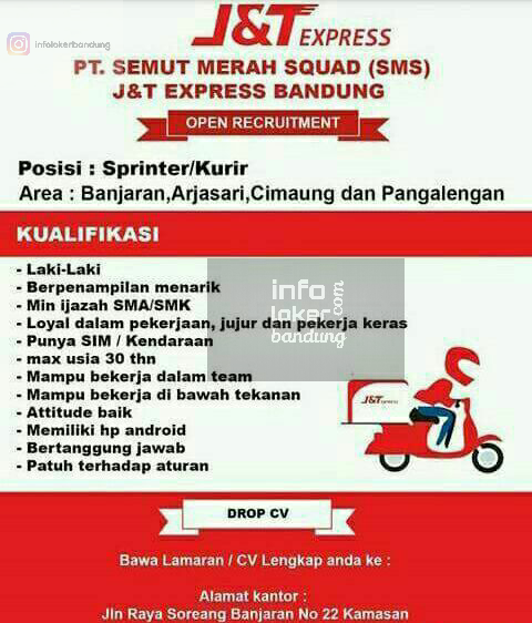 Lowongan Kerja PT. Semut Merah Squad J&T Express Bandung