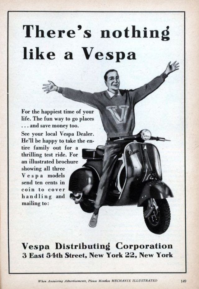 32 interesting vintage vespa ads around the world from
