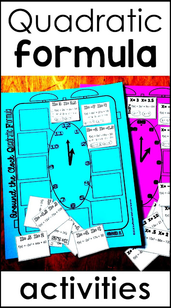 Looking for FUN Quadratic Formula activities? In this post are a variety of printable PDF and digital Quadratic Formula activities that your algebra students will love. Students use these algebra activities to practice solving quadratic word problems and to find the zeros of quadratic functions. The Quadratic Formula template has given my students the structure they needed to really master quadratics and the new quadratic word problems digital math escape room is sure to engage every one of your learners!