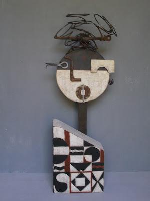 Escultura técnica de ensamblaje, arte abstracto geometrico pintura artistica