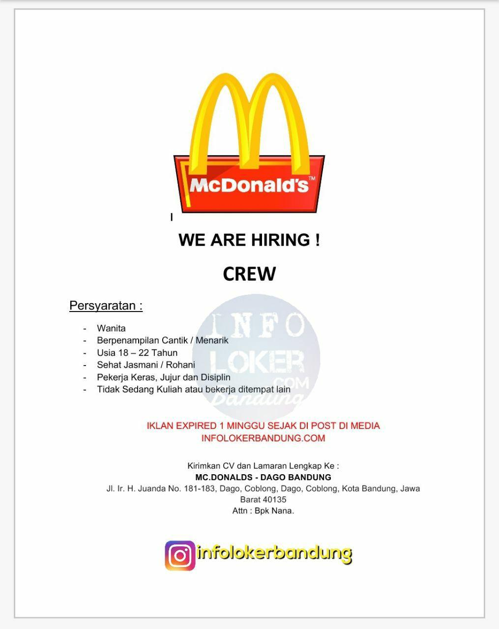 Lowongan Kerja Mc Donalds Dago Bandung Oktober 2017