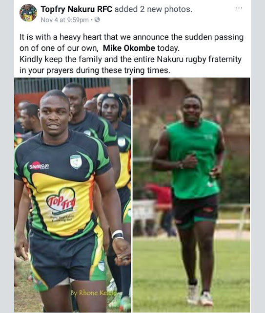 Photos: 27-year-old Kenyan rugby star Mike Okombe stabbed to death by his girlfriend