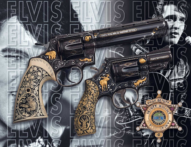 Elvis revolvers and badge