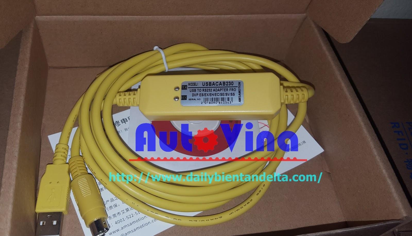 Cable lập trình PLC Delta USBACAB2A30, cable nạp chương trình PLC Delta RS232