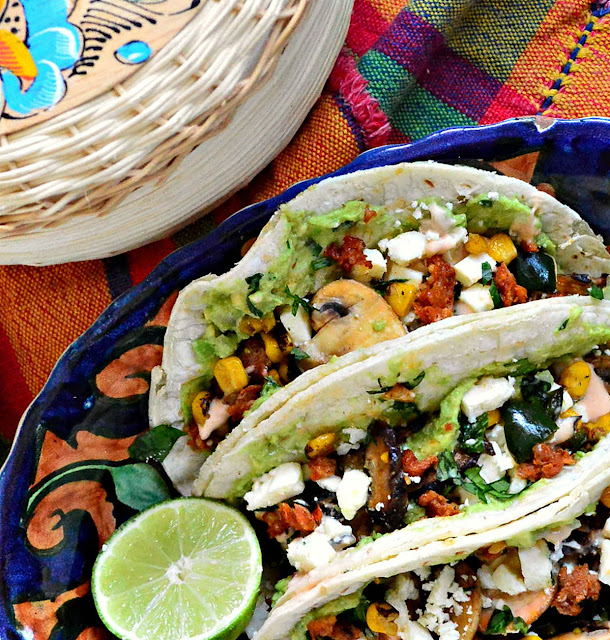 Corn, poblano and mushroom tacos with chorizo