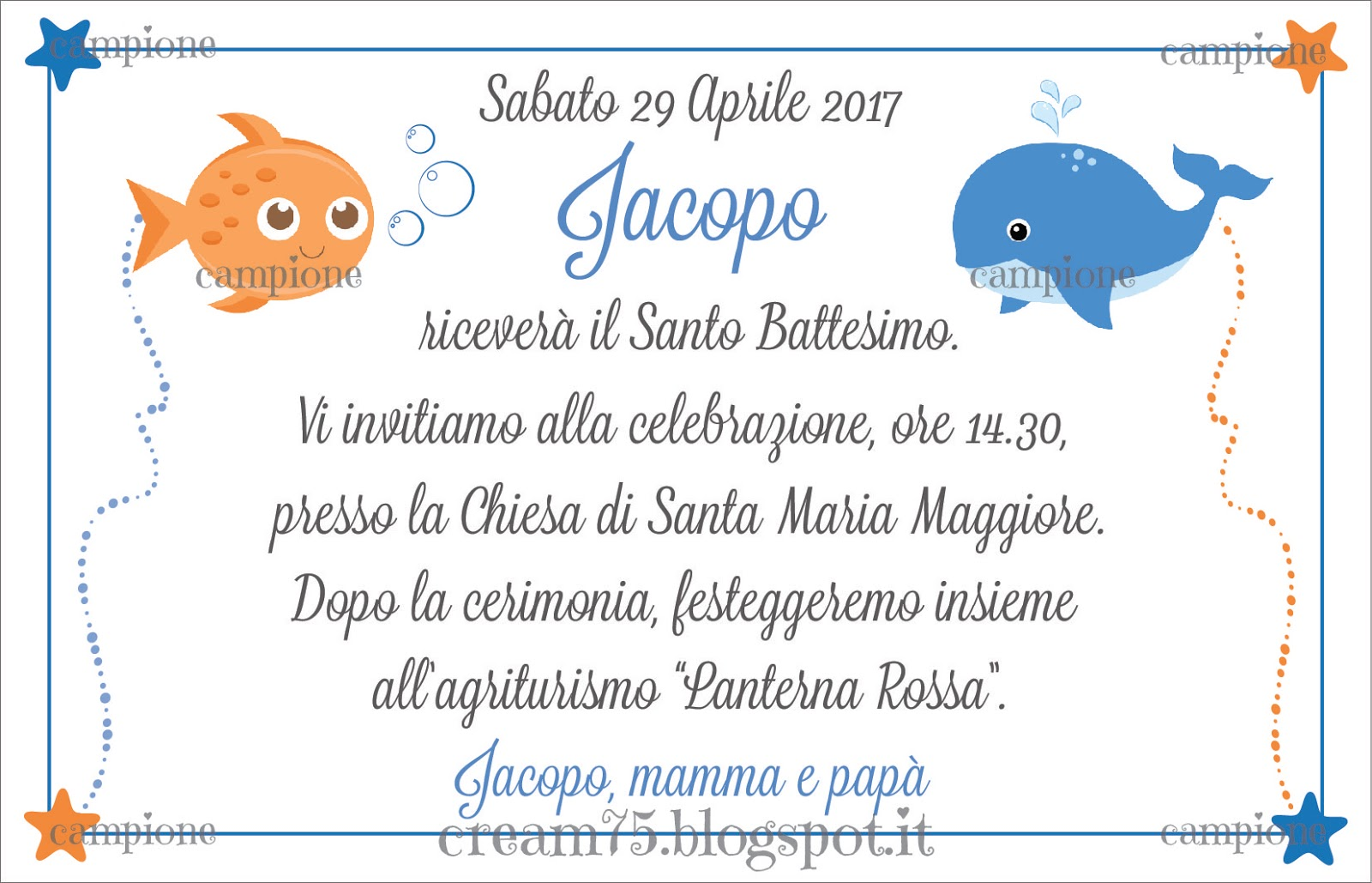 Super My Sweet Blog: Invito Battesimo con pesce e balena ZQ73