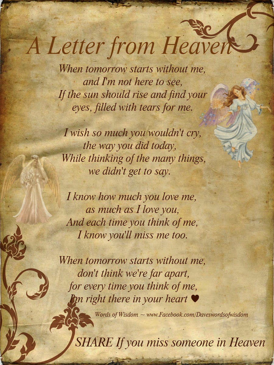 Letter To My Loved Ones From Your Angel In Heaven