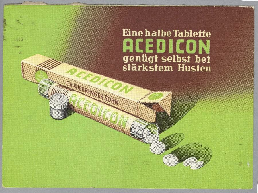 "Packet of Acedicon (""Half a tablet of Acedicon is enough even for a strong cough"")."