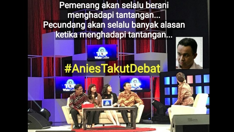 Meme Anies Baswedan takut debat