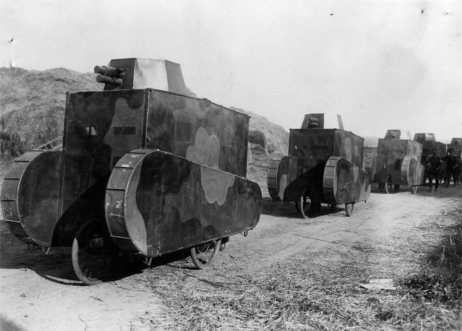 Cardboard German dummy tanks on maneuvers. 1928.