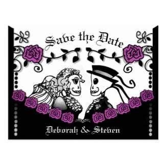 purple roses gothic skeletons wedding save the date postcard by Julie Alvarez Designs