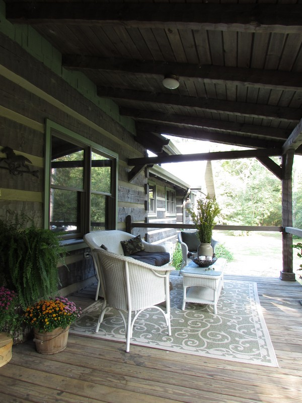 Fall Decor Ideas on a Log Cabin Porch