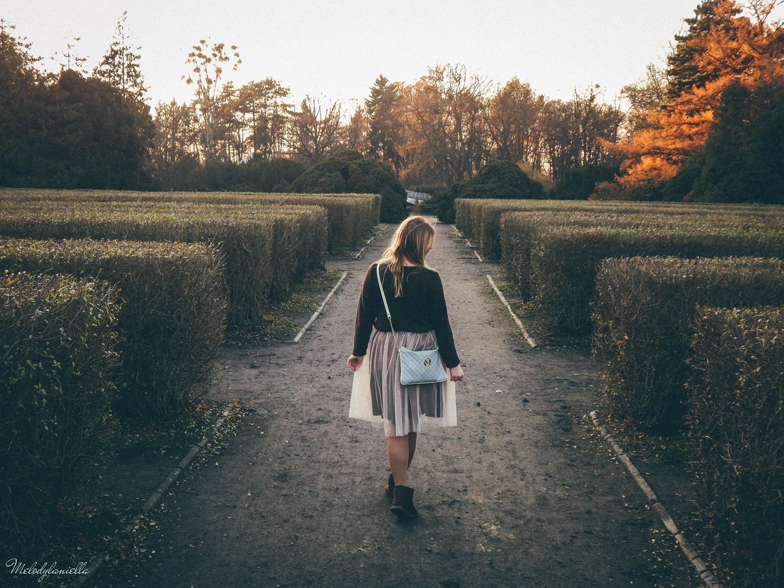 12. jesienna stylizacja tutu tiulowa spódnica dla dorosłych brązowy sweter torebka manzana melodylaniella autumn style fashion ciekawa stylizacja na jesień brązowa spódnica instagram