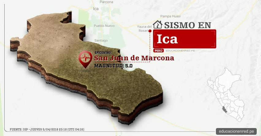 Temblor en Ica de magnitud 5.0 (Hoy Jueves 5 Abril 2018) Sismo EPICENTRO San Juan de Marcona - Nazca - IGP - www.igp.gob.pe