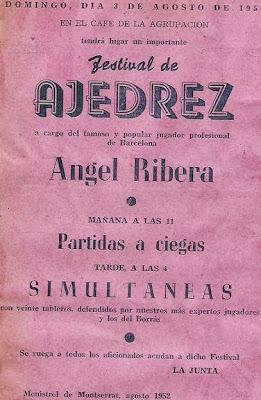 Cartel anunciando el Festival de Ajedrez de Monistrol de Montserrat en 1952
