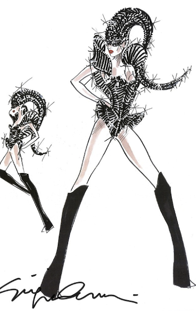 Newsflash: Giorgio Armani's Sketches For Lady Gaga's Concert Costumes