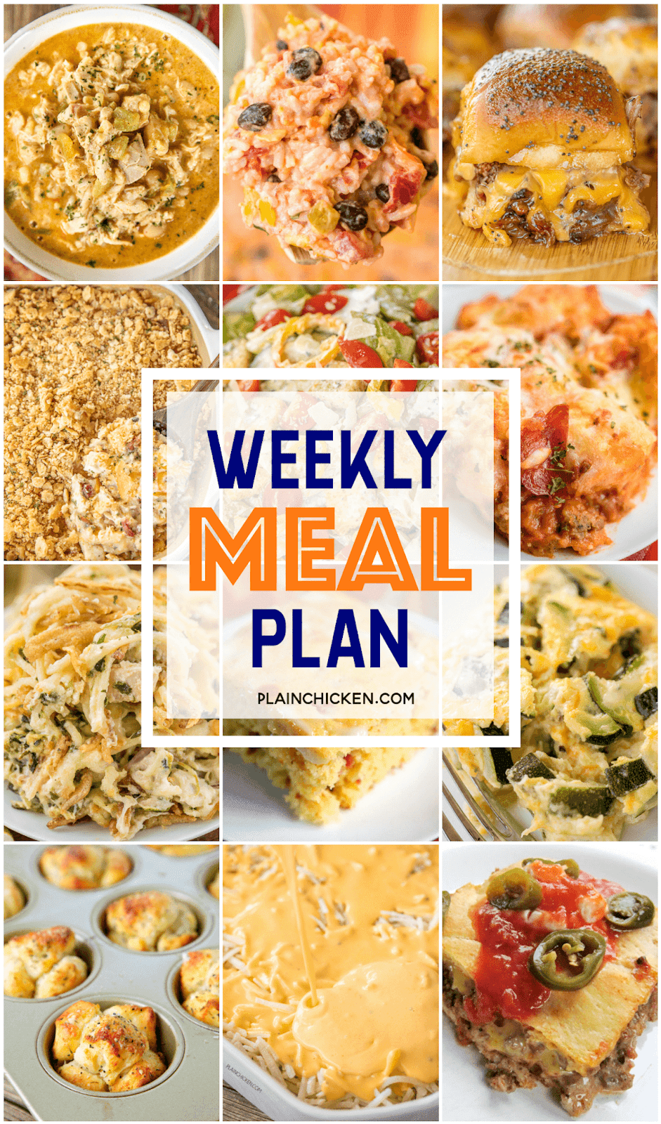 Weekly Menu food picture collage