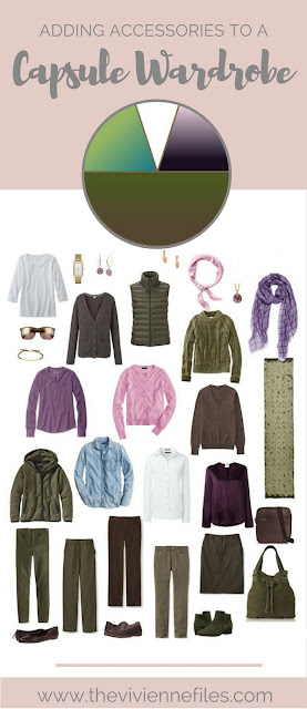 How to add accessories to a capsule wardrobe in an olive, purple, and white color palette