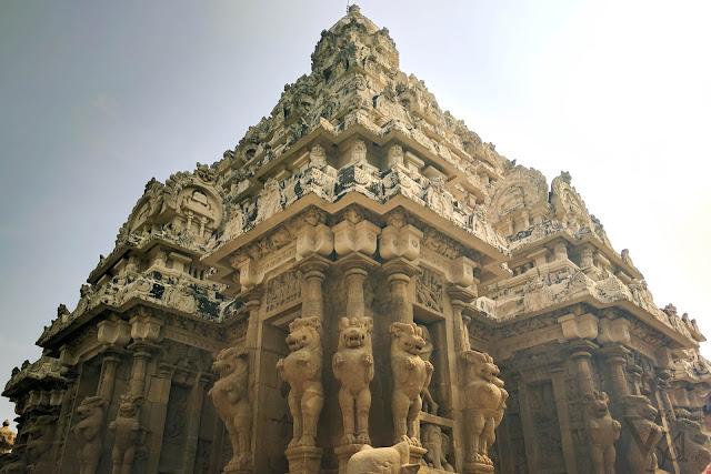 Pyramidal shaped vimana of the main shrine with supporting pillars having lions in standing pose