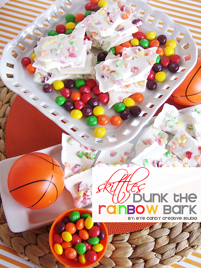 basketball, rainbow bark, skittles bark, basketball treat, skittles