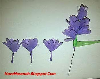 membuat bunga lavender dari kantong kresek bekas