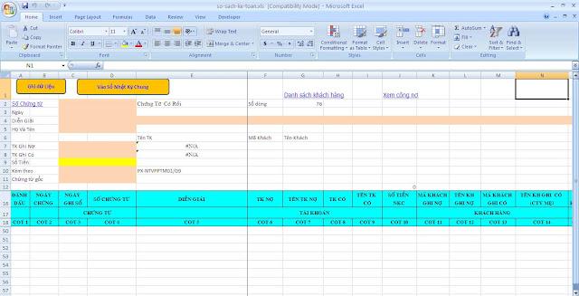 Tạo bảng nhập chứng từ và sổ nhật ký chung