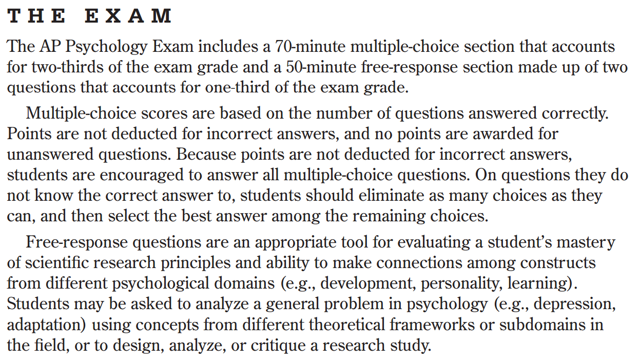 psychology final exam essay questions On the day of the final, the students will be told which two prompts they will be required to respond to in blue books that the students have provided to the instructor essays should show a great deal of thought and range between short answers and formal essays, leaning closer to the idea of an essay.