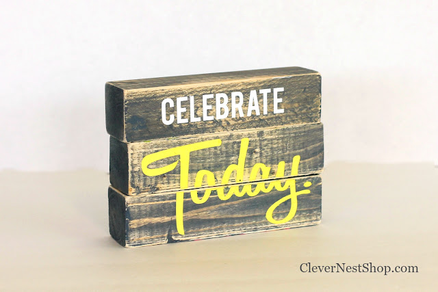 Four sided Wood block sign, Celebrate Family, Celebrate You and Me, Celebrate Life, Celebrate Today #rusticwoodsign #woodblocksign #blockdeskdecoration