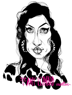 Ink Winehouse Portrait by Amy Leonard