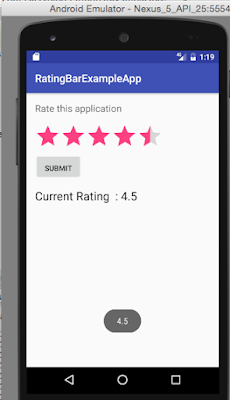 Android RatingBar toast example
