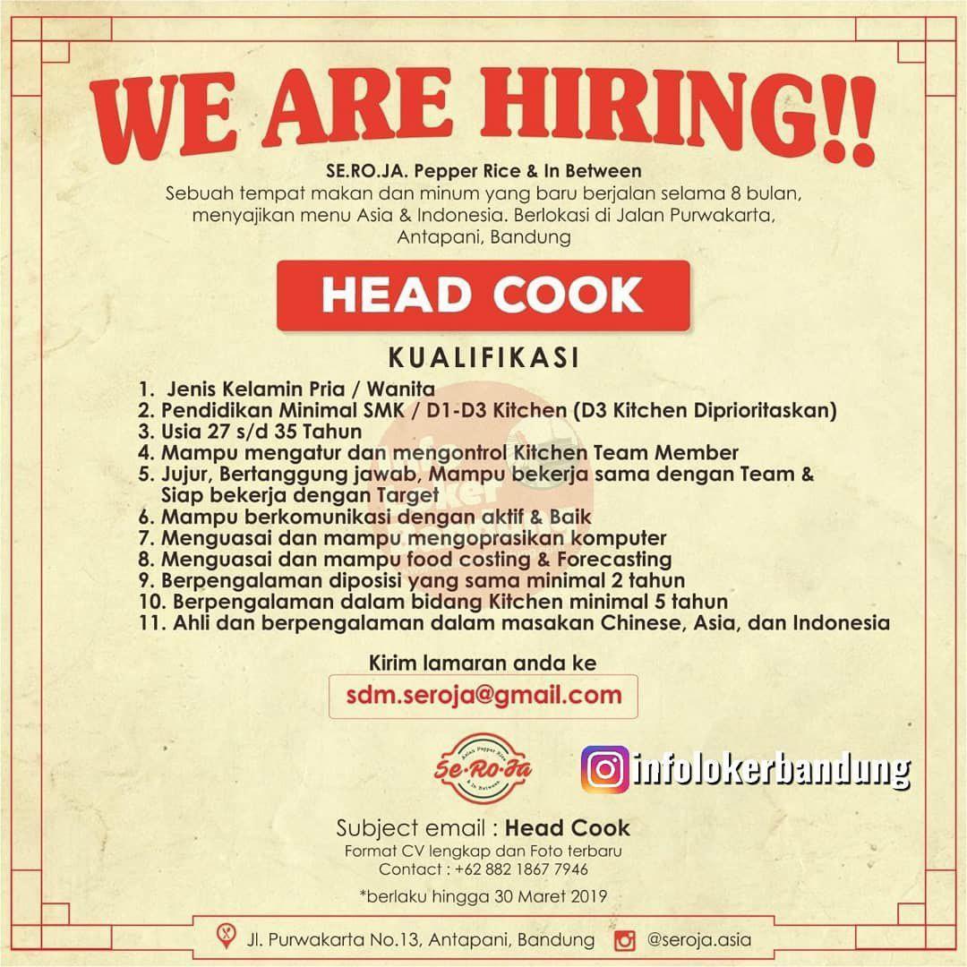 Lowongan Kerja Seroja Cafe Pepper Rice & In Between Antapani Bandung Maret 2019