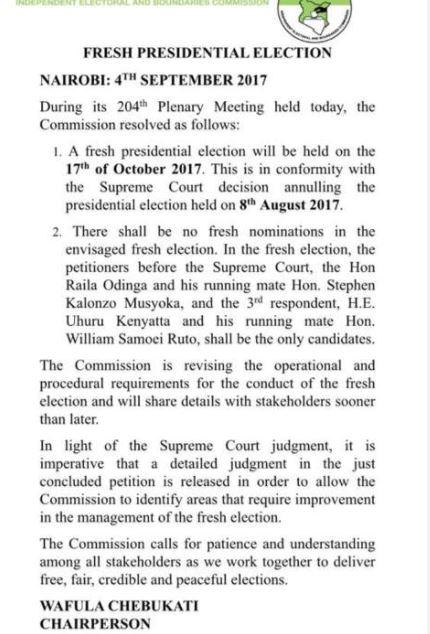Kenya election: Date set for Kenyatta-Odinga re-run