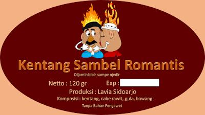 Label Kering Kentang Sambal Romantis Rasa Pedas