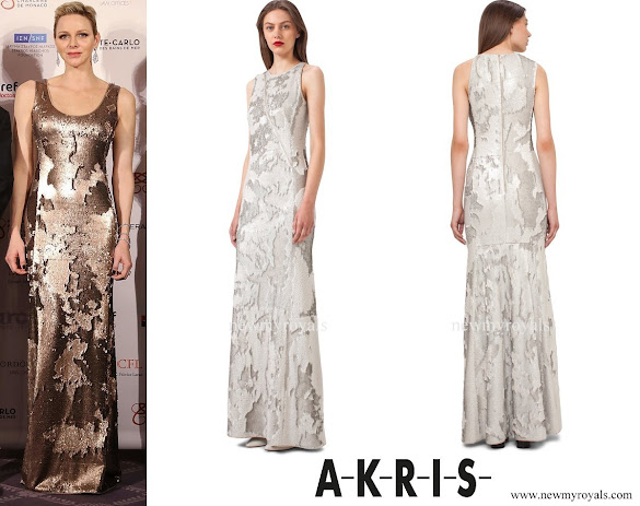 Princess Charlene wore AKRIS Sequined Gown