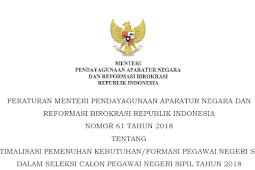 Terbaru ! Permenpan No 61 Tahun 2018 Tentang Sistem Ranking SKD CPNS