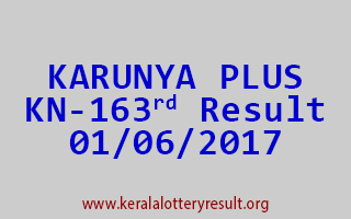 KARUNYA PLUS Lottery KN 163 Results 1-6-2017