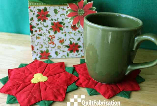 Poinsettia flower coaster by QuiltFabrication
