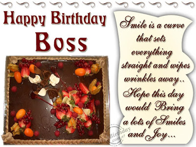 Happy Birthday wishes For Boss: smile is a curve that sets
