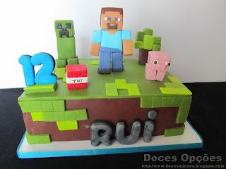 Bolo de aniversário Minecraft