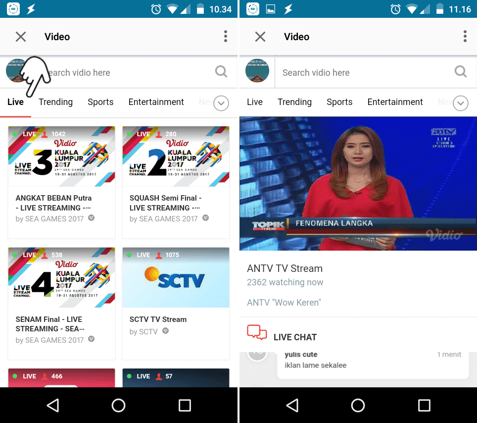 Live TV streaming ANTV BBM