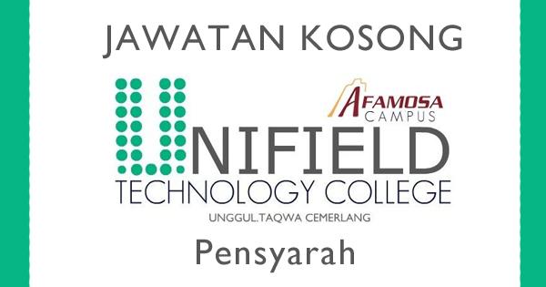 Jawatan Kosong Pensyarah di Kolej Antarabangsa Unifield Melaka