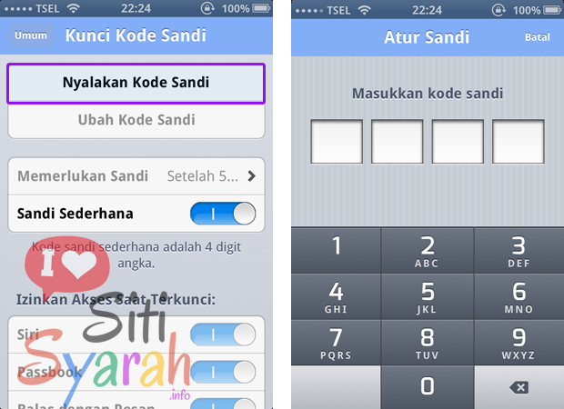 memberi password pada iPhone