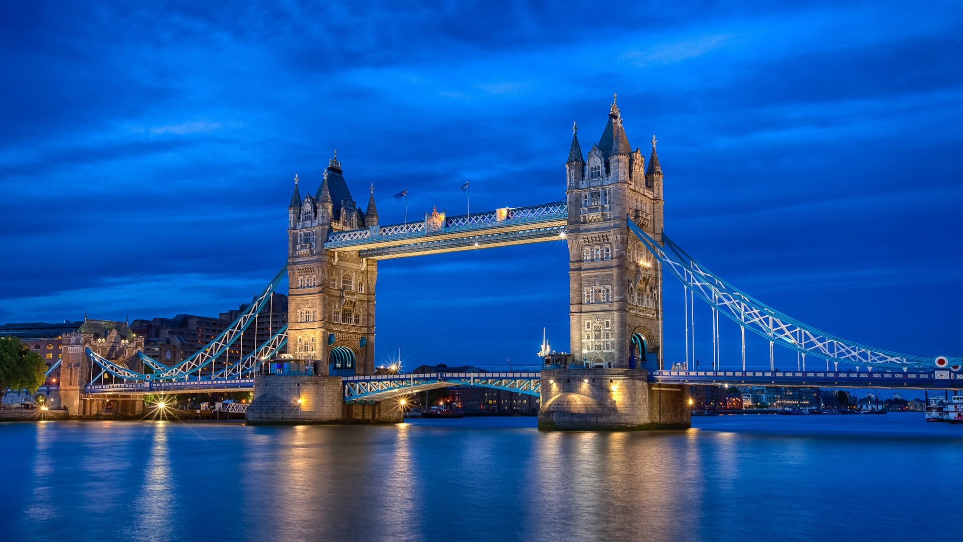 England London City Night River Thames Tower Bridge Blue ...