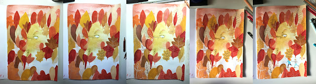 autumn mood, gif de otoño, proceso de ilustración, otoño, hojas secas, tonos cálidos, ilustración de otoño, bosque de otoño, hojas de roble, hoja caduca, pasear por el bosque