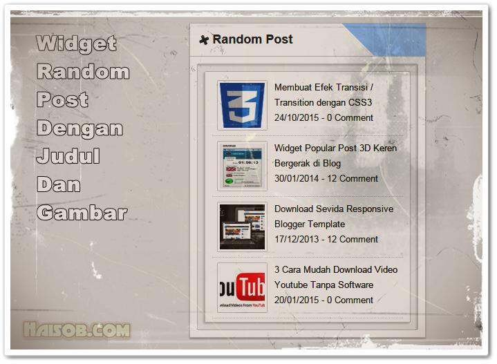 Widget Random Post dengan gambar dan judul untuk Blogspot