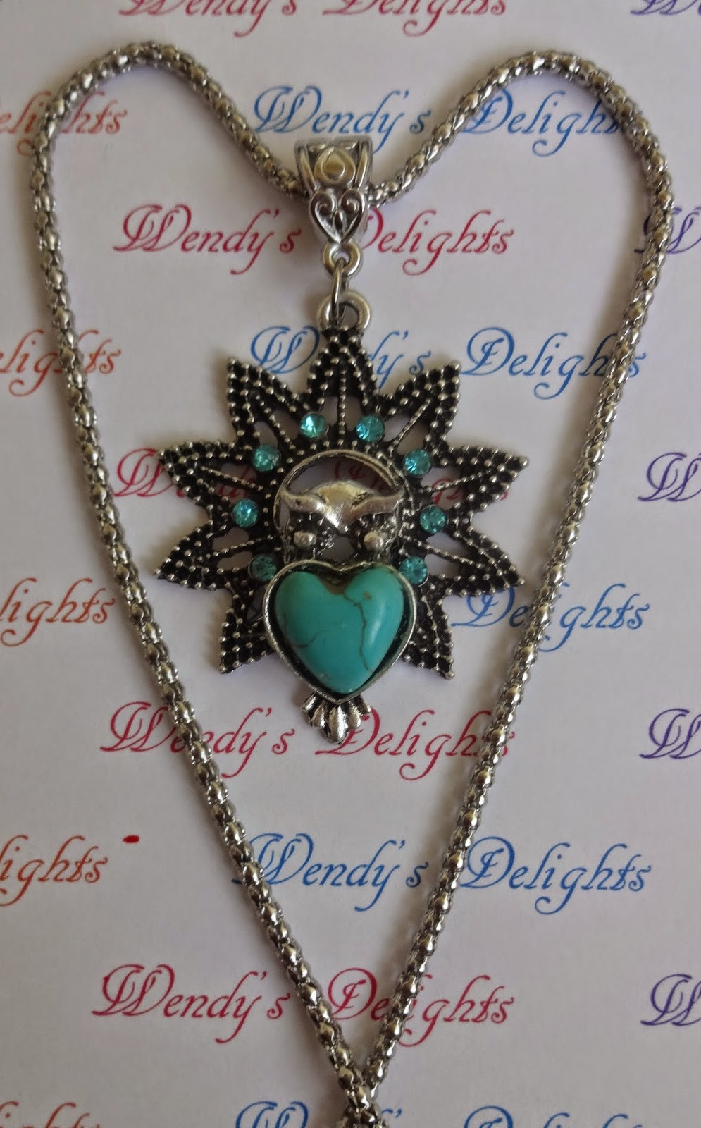 Wendy's Delights: Blue Turquoise Owl Pendant & Necklace
