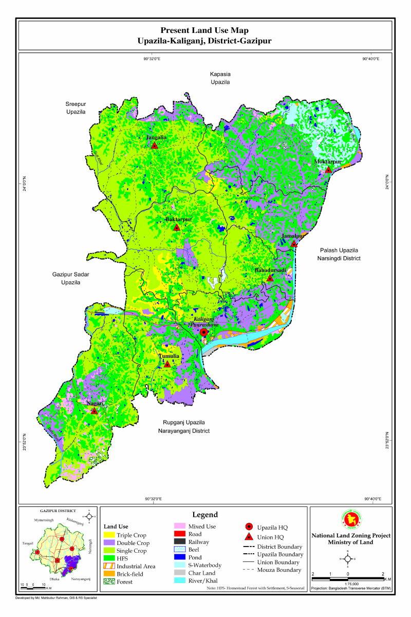 Kaliganj Upazila Mouza Map Gazipur District Bangladesh