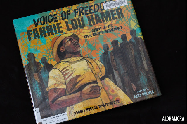 Voice of Freedom Fannie Lou Hamer, Spirit of the Civil Rights Movement by Carole Boston Weatherford and illustrated by Ekua Holmes won the Caldecott for amazing paper collage illustrations.  This non-fiction biography informational book is written in poetry verse and the pictures fit the text perfectly.  4.5 out of 5 stars in my book review. black history, MLK day, Martin Luther King, Black History, inspiring, courage, 5th, 6th, 7th, 8th, or 9th grade would benefit most.
